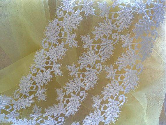 Venice Lace Trim in White with Leaves Design for Bridal, Wedding Belt, Jewelry, Home Décor