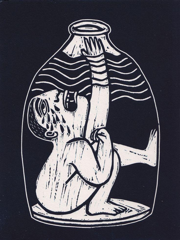 Aquarius. Linocut.  www.biancatschaikner.com #print #printmaking #linocut #water #biancatschaikner #art #graphicart #bottle