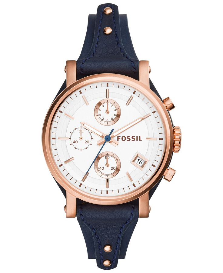 Fossil Women's Chronograph Watch - love love love the rose gold with the blue leather