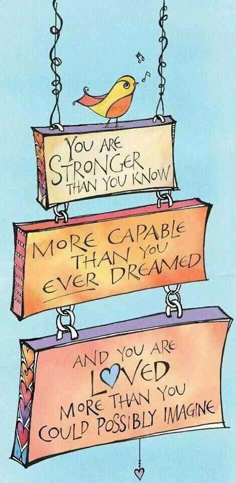 You are strong, capable & loved! Quotes for kids