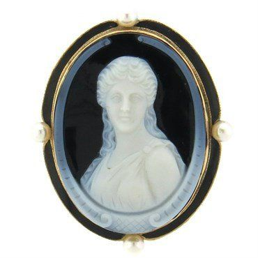 Antique circa 1870s 14k gold brooch, set with hardstone cameo, surrounded with…