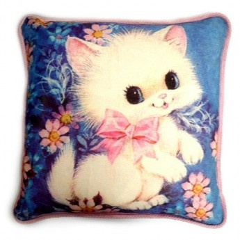 Here Kitty Vintage Cushion Cover