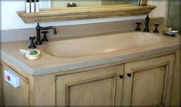 One Deep Sink Two Faucets Concept Trough Sink Bathroom Trough Sink Concrete Bathroom