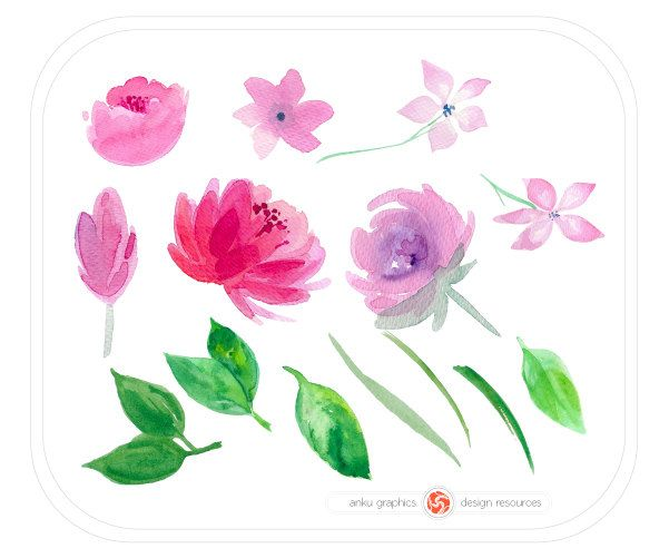 WATERCOLOR  FLOWERS for instant download, watercolor cliparts, florals, set of hand painted flowers, twigs, leaves, wedding floral clipart by ankugraphics on Etsy