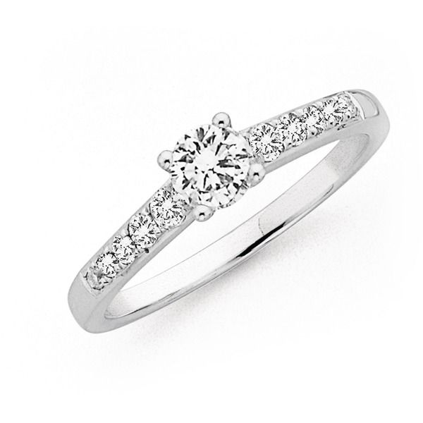 Modern Style Engagement Ring. 18ct, White Gold Diamond Ring Total Diamond Weight=.62ct