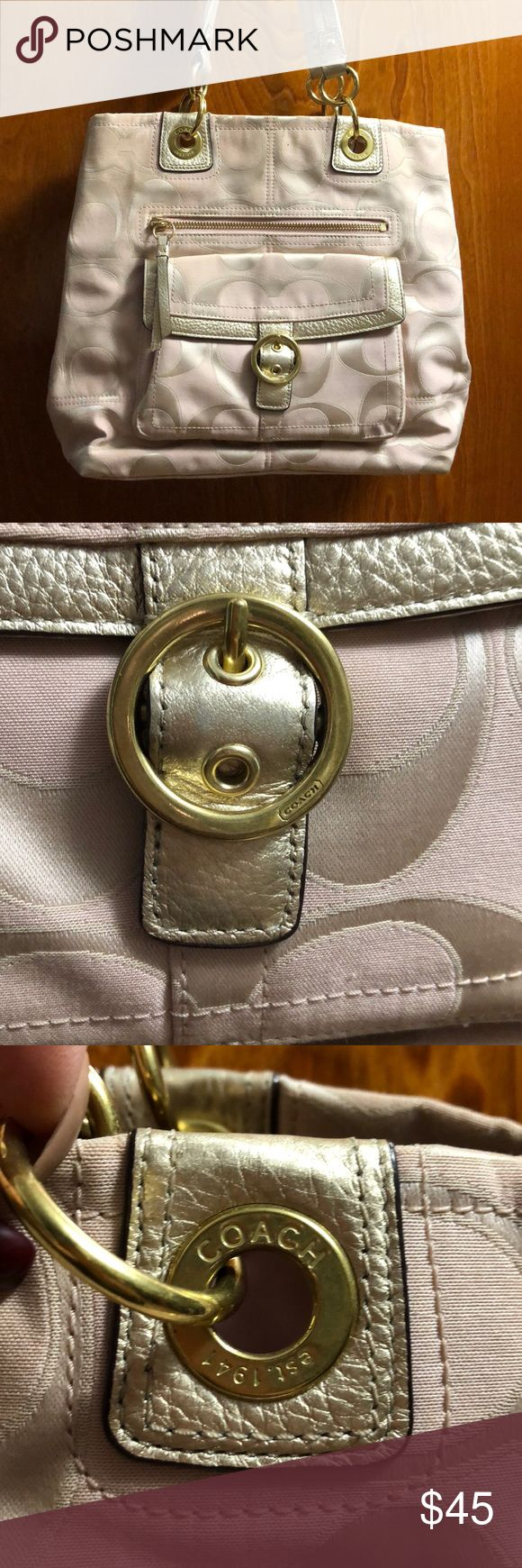 Authentic Coach Tote Bag. Light Pink and Gold Used Coach tote bag. Light Pink withLight Gold trim. Used Coach Bags Totes