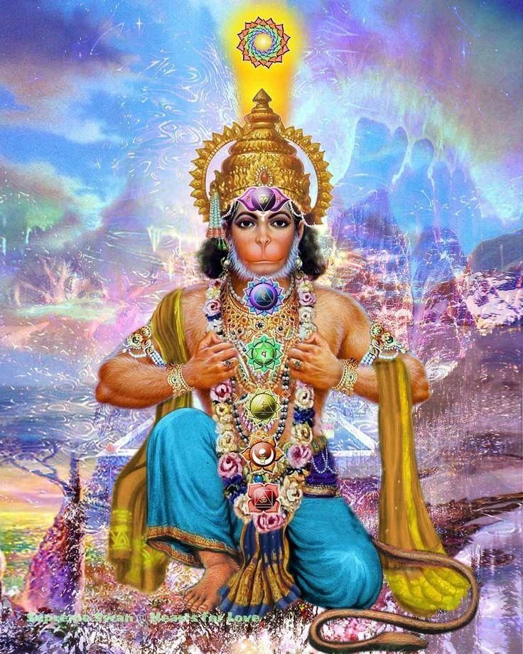 Fine art print of Lord Hanuman with the chakras