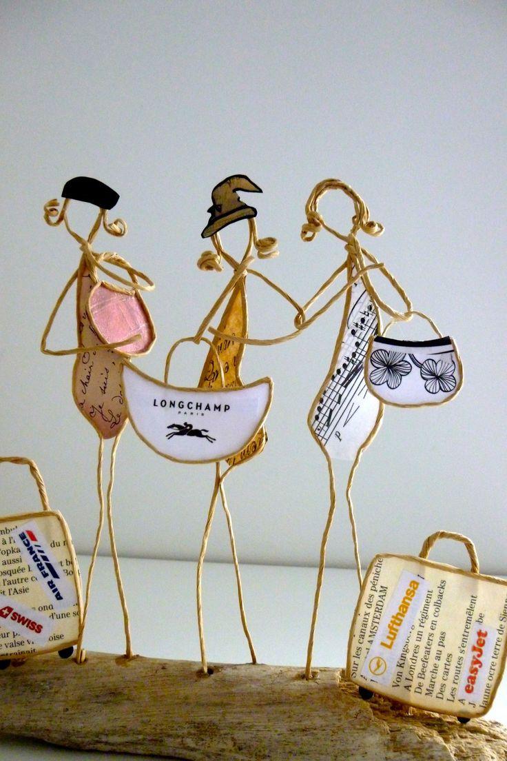 Les amies en voyage - figurines en ficelle et papier