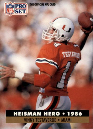 1991 Pro Set #41 Vinny Testaverde HH Tampa Bay Buccaneers / Miami Hurricanes #ProSet #TampaBayBuccaneers