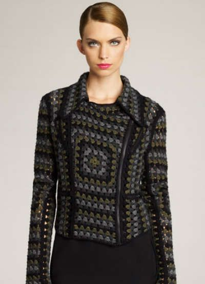 Crochet Biker Jacket by Christopher Kane - go granny square