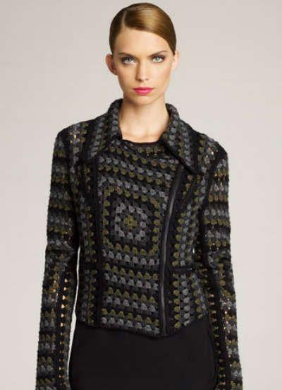 Crochet Biker Jacket by Christopher Kane - go granny square