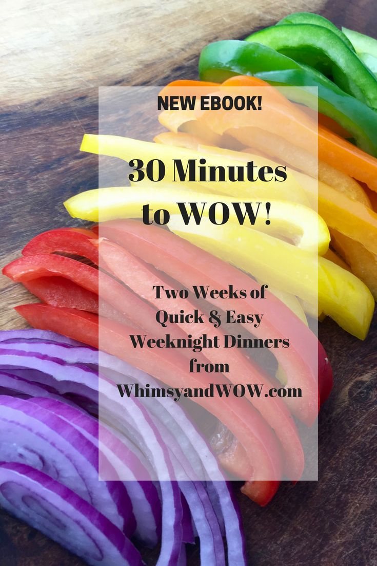 A printable eBook with two weeks quick, easy and delicious weeknight dinners that can be made in 30 minutes or less!