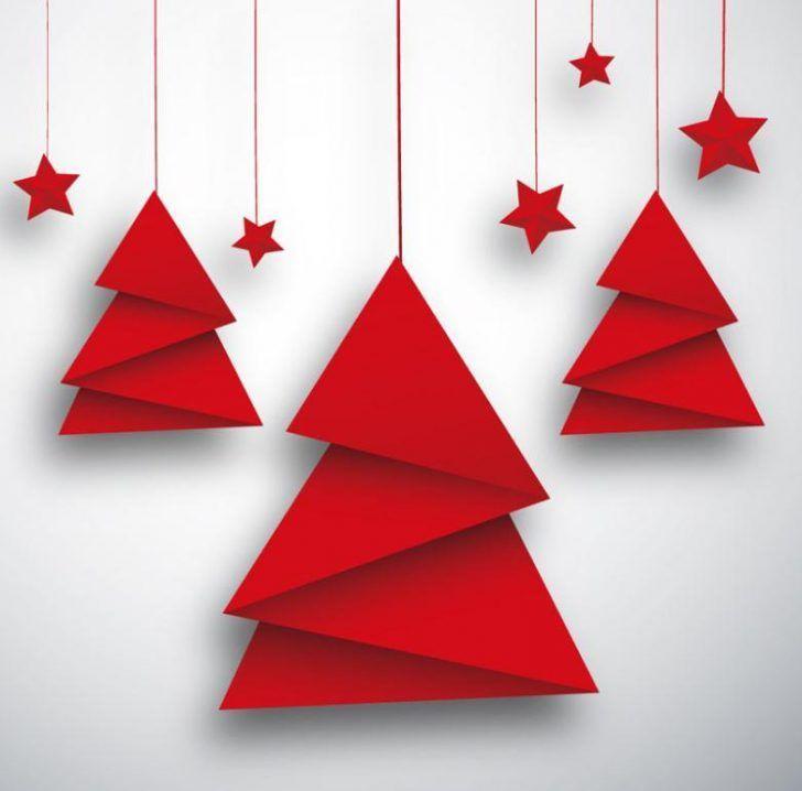 Origami-Weihnachtsorigami-Weihnachtsbaum und roter Stern-Karten-Vektor geben Vektor frei