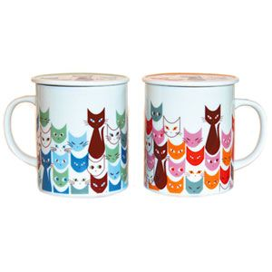 """These mod cats add a bit of """"coolness"""" to hot tea or coffee, and happily come with matching lids to keep drinks warm. Crafted of porcelain in Japan by a family owned and operated studio that has been in operation for over forty years. Holds 8 oz."""