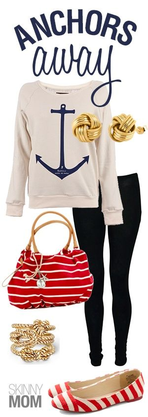 Anchors Away Fashion Friday!!! This preppy outfit is so cute!!! I LOVEeverything about this from the anchor on the shirt to the super cutestriped flats!!