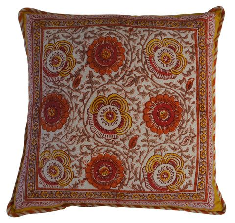 Printed sunny floral pattern cushion in the warmest Summer tones of orange and yellow.  Hand block printed in India using ethical and environmentally friendly construction that preserves and celebrates traditional artisan skills.  100% natural cotton cover with NZ made Polyfill inner.  Dimensions: 45cm x 45cm