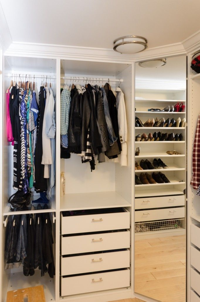 Using IKEA's PAX closet system, we were able to make these stylish custom,  built-in wardrobes for a fraction of the cost - corner unit with mirrored  door, ...