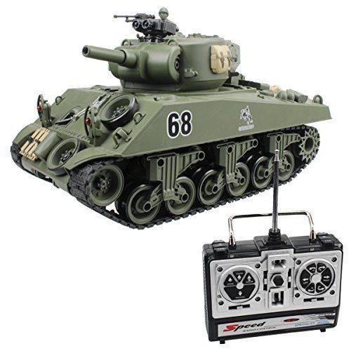 RC Tank 15 Channel USA Sherman M4A3 Main Battle Tank Model w Air-Soft 1:20 Scale #RCTank