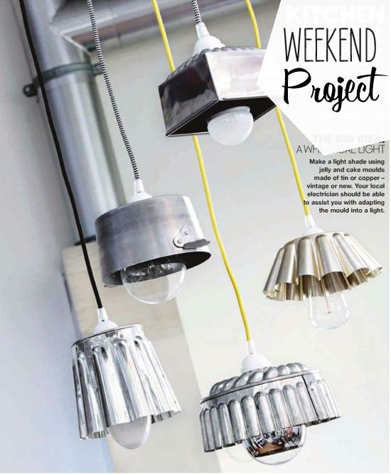 Jelly mould / saucepan / cake tins as kitchen pendant lights. Fun and eclectic...