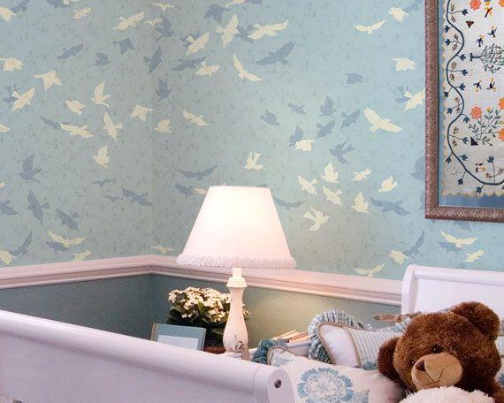 Vogel Stencil - Wall Art Stencil - dierlijke Stencils - geschilderd vogels Art - Boy kinderkamer behang