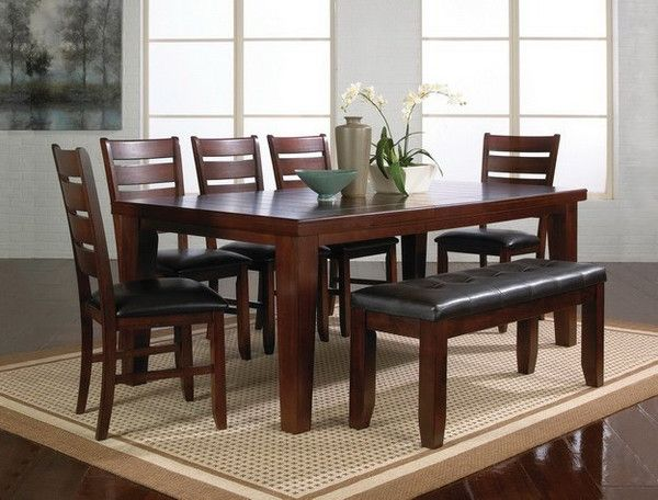 Crown Mark 7 Pc Bardstown Dark Wood Finish Dining Table Set With Vinyl Upholstered Chairs
