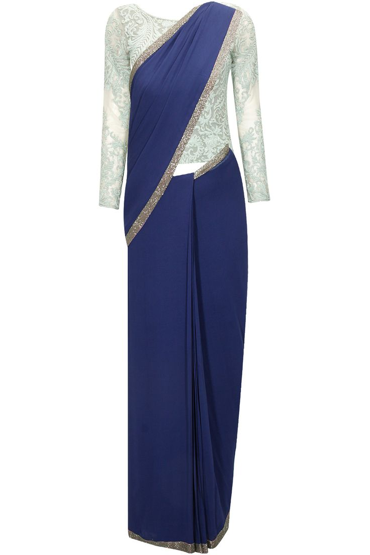 Navy pre-stitched sari gown with duck egg blue embroidered blouse by Varun Bahl.