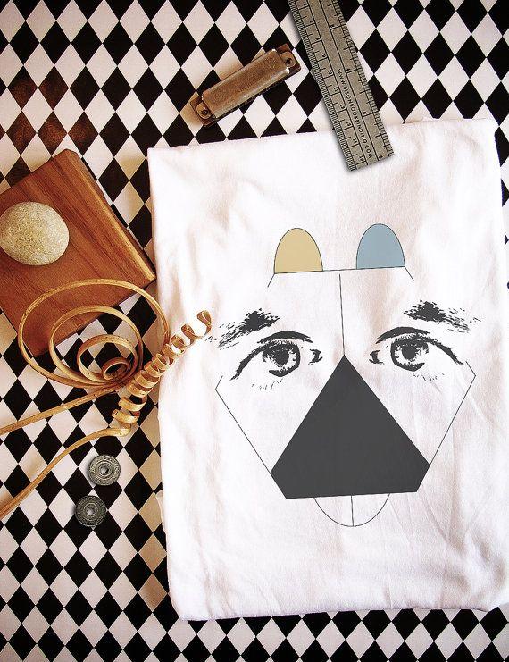 Geometric Dog Organic Cotton Men's t-shirt   White   Fairtrade   Men's fashion   Men's shirt
