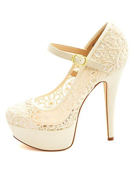 Crochet Lace Mary Jane Platform Pumps: Charlotte Russe-so cute, I want