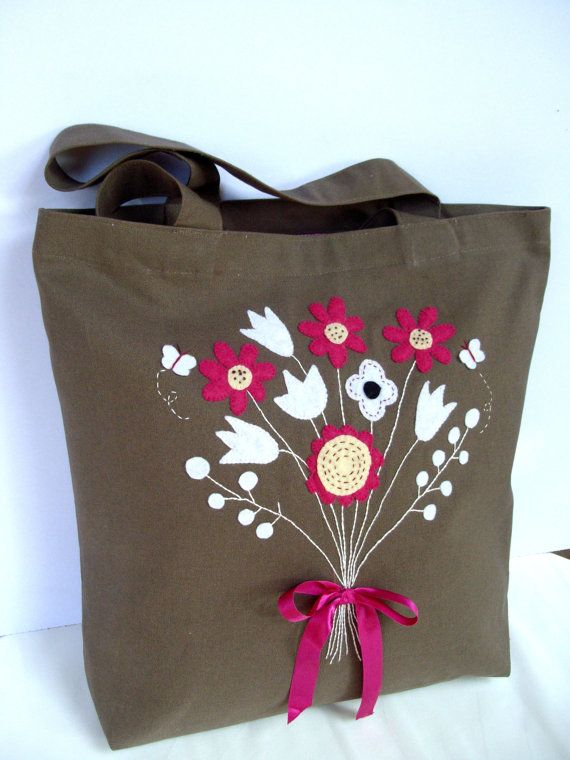Canvas chocolate brown canvas tote handbag/Unique floral hand embroidered and appliqued  /classic/Shopper/stylish