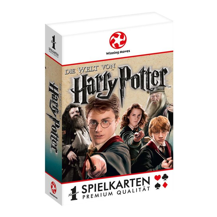 Harry Potter - Speelkaarten  - spelers: 2  - leeftijd: 8  - Duitstalige editie  Breng wat magie en spanning mee met deze speelkaartenset van Harry Potter. Ieder personage uit de magische wereld van Harry is terug te vinden op een speelkaart, klaar om het op te nemen tegen de anderen.