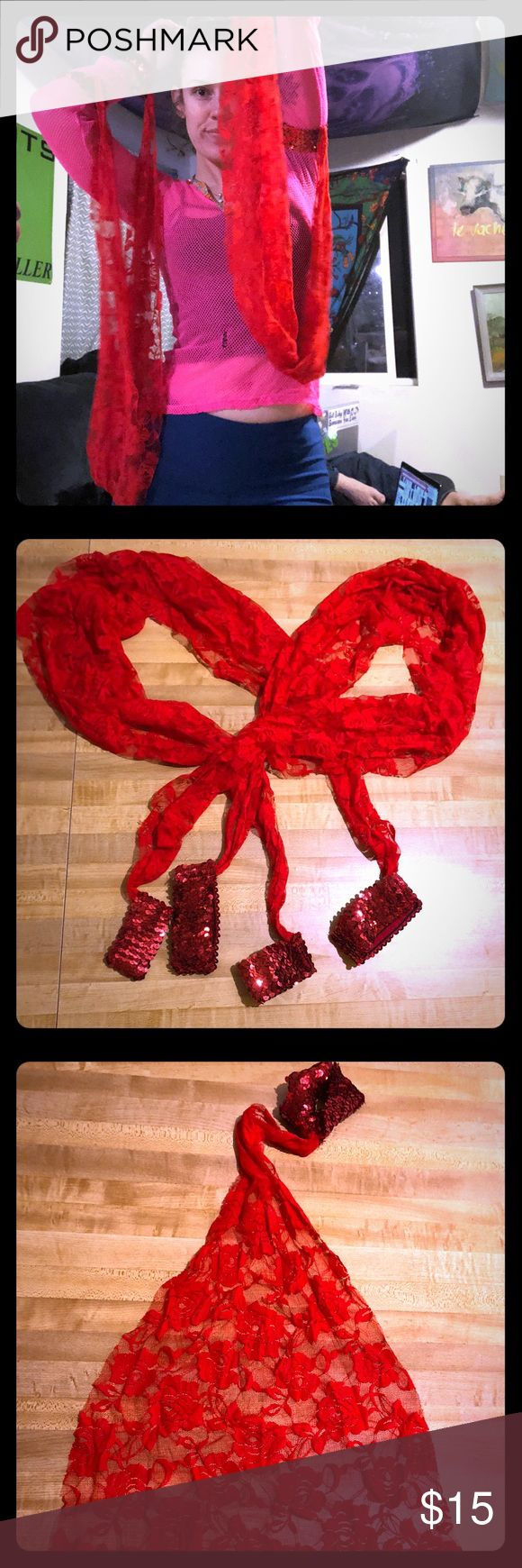 Sexy dance rave lace sequin arm drapes wings flags Two gorgeous large red dance drapes, with two sequin arm bands on each to attach to arms.  Looks like wings when you dance!  Originally purchased from Dolls Kill. Very fun hippy hippie party rave raver dance dancer accessory, wonderful for music festivals.  Brand new never used, new without tags as it never came with them!  Offers always accepted. Accessories