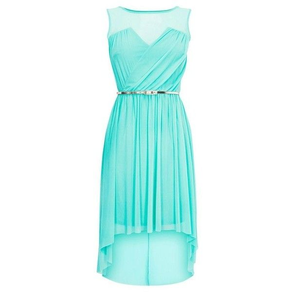 Tiffany blue bridesmaid dress ❤ liked on Polyvore featuring women's fashion, dresses, hi lo dresses, bridesmaid dresses, short in front long in back dress, mullet dress and blue high low dress