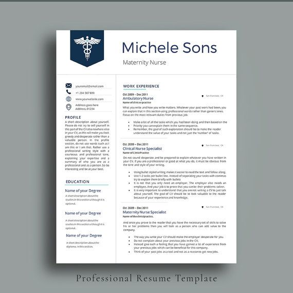 Professional Nurse Resume Template. Elegant Nurse Resume For Medical Professionals. Impressive, Neat and Clean CV Template with a lot of space to add your text. Easy and fast to customize. Nurse CV Template by AvataDesigns.