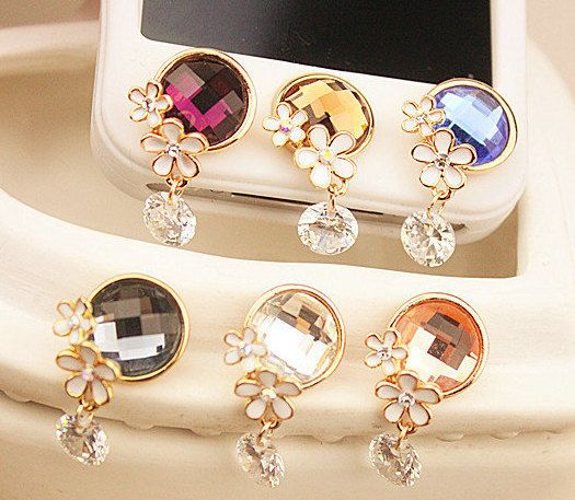 1PC colorful rhinestone /Bling  Crystal Frame iPhone Home Button Sticker for iPhone 4,4s,4g, 5 & iPad, Phone Charm on Etsy, $6.99