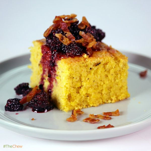 Fresh Grilled Cornbread with Bacon-Blackberry Compote! #TheChew #Dessert #SideDish