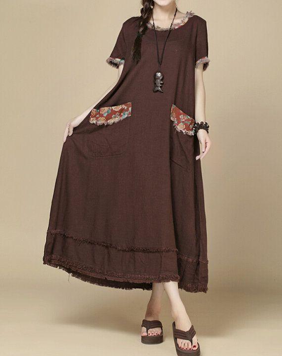 Fabrics; linen, cotton Color; Khaki, fuchsia Size Shoulder 37cm / 14  Bust 102 cm / 40  Sleeve 18cm / 7  Waist 118cm / 46   Length 116cm / 45  Hem 294cm