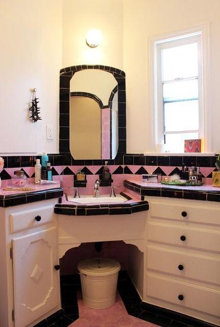 Pink and Black tile bathroom
