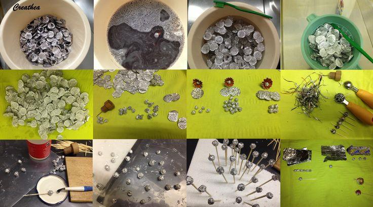 Nespresso:Perle ò palline con i filtri delle cialde di Nespresso e altro di aluminio.