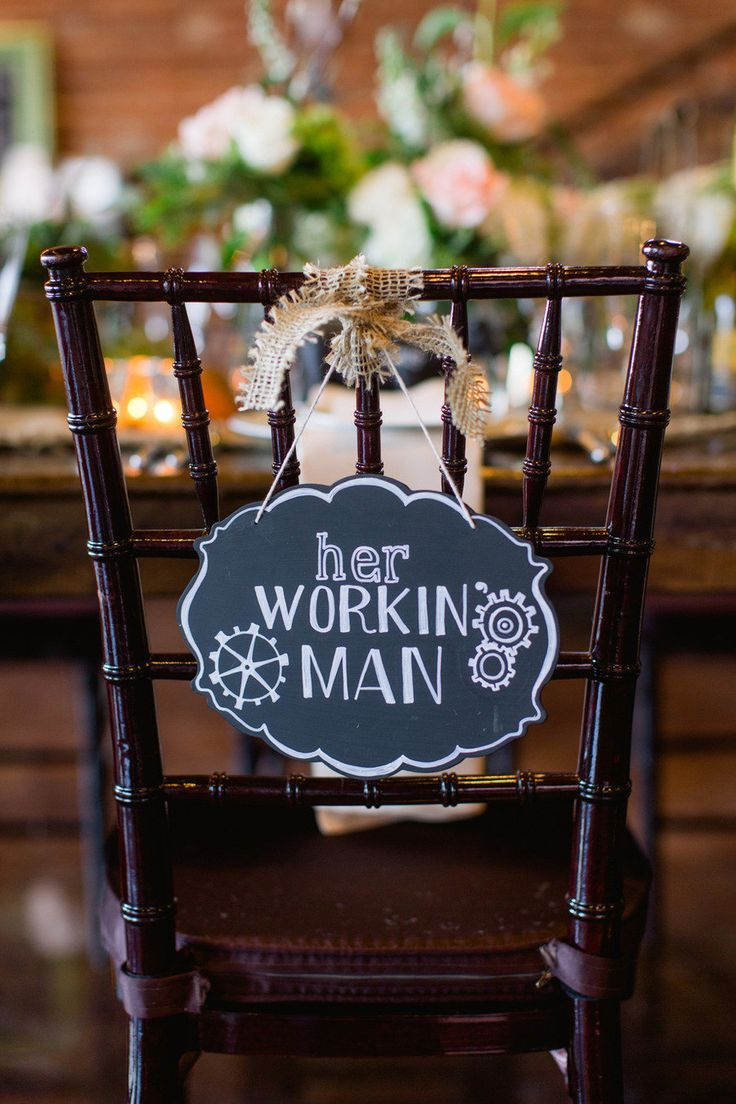 Her workin' man. Farm + Factory Southern Styled Shoot from Gather Together | gathertogetherevents.com, Photography by blog.sarahderphotography.com, Read more - http://www.stylemepretty.com/2013/06/19/farm-factory-southern-styled-shoot-from-sarah-der-gather-together/