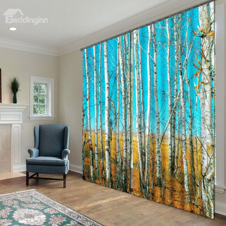 3D Fantastic White Birch Printed Natural Scenery 2 Panels Decoration And Blackout Curtains On SaleCurtains