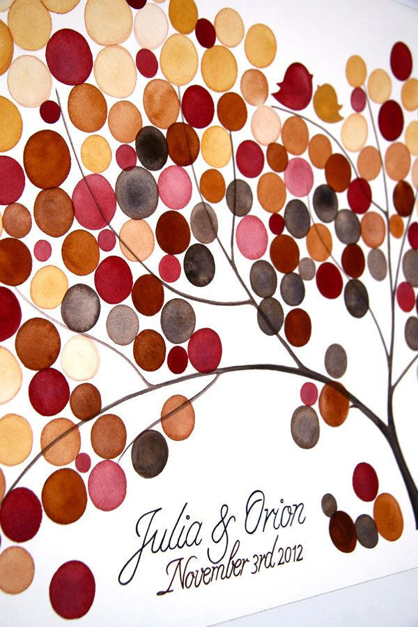 One of a kind Wedding alternative Guest Book painting - Custom rustic wedding guest book tree - Autumn Tree by OnceUponaPaper on Etsy https://www.etsy.com/ca/listing/112425584/one-of-a-kind-wedding-alternative-guest