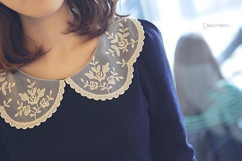Lacey Peter Pan collars give clothes a vintage feel and makes it stylish.