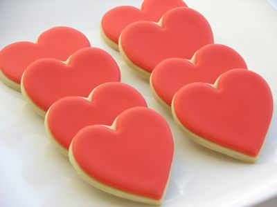 Galletas Decoradas de Corazones Rojos.  Decorated Cookies.