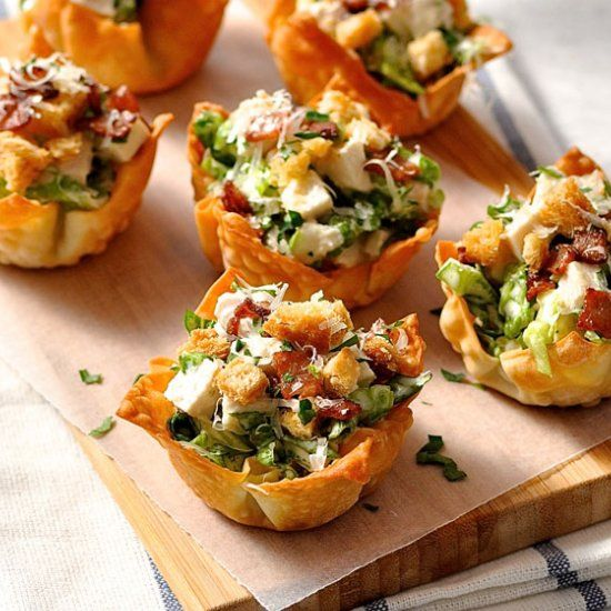 Caesar Salad Wonton Cups- Everything tastes better in miniature form! Wonton wrappers are perfect to use for appetizers.