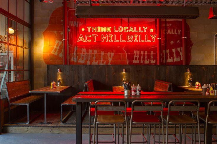 Grillstock - Restaurant signage #illuminated, mural #handpainted