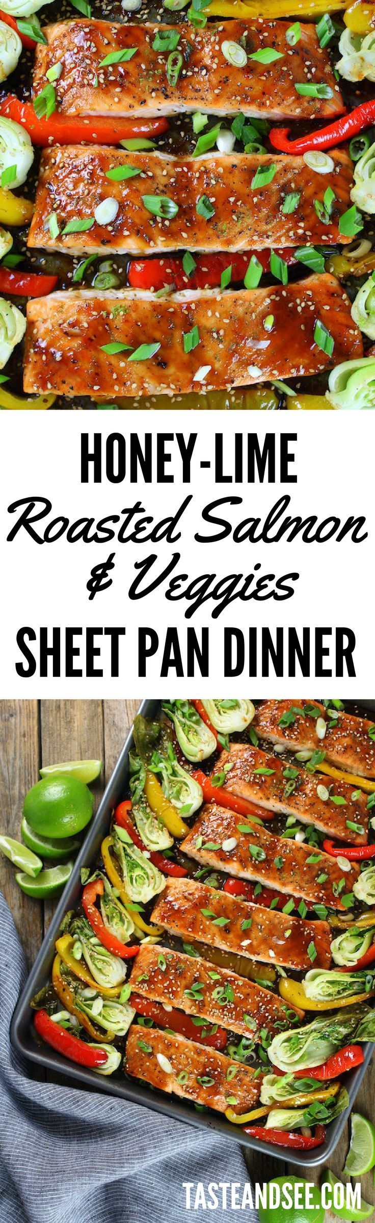 Honey-Lime Roasted Sheet Pan Salmon and Vegetables - an easy and delicious weeknight meal!  Salmon | Low-Carb | http://tasteandsee.com