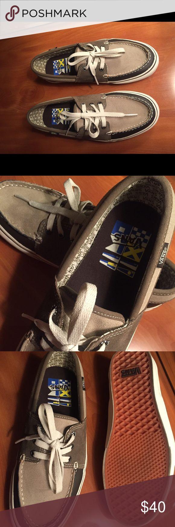 VANS two tone leather boat shoes , Men's 8,5 VANS two tone brown suede and leather boat shoes , Great condition, was worn couple times. Vans Shoes Boat Shoes