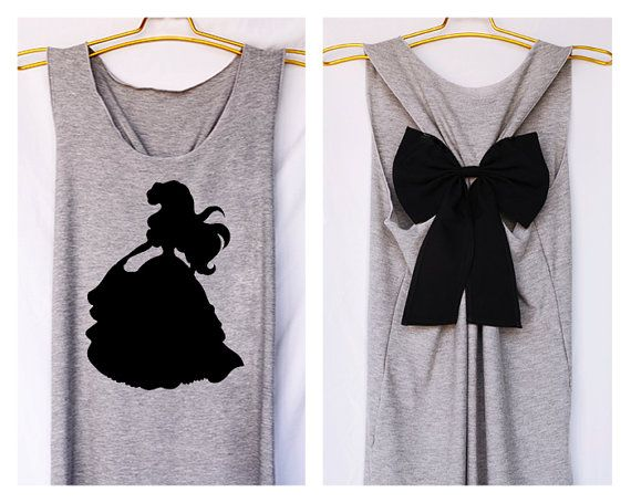 Ariel littel mermaid Disney Princess Tank Premium with Bow : Workout Shirt - Keep Calm Shirt - Tank Top - Razor Back Tank - Disney shirt