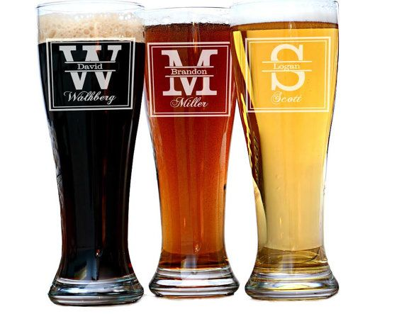 Groomsmen Gift 6 Personalized Beer Glasses by UrbanFarmhouseTampa