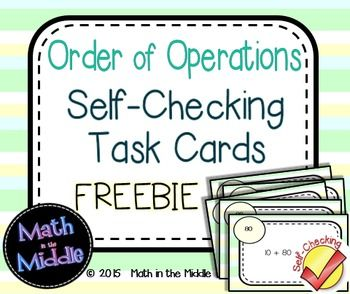 Cut back on grading with these FREE self-checking order of operations task cards!